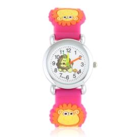 Zegarek dziecięcy z lwem - ciemny róż - Z2012