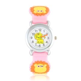 Zegarek dziecięcy z lwem - jasny róż - Z2014