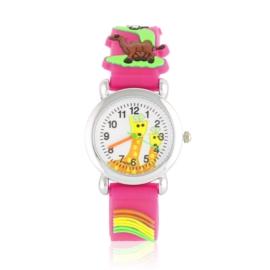 Zegarek dziecięcy animals - ciemny róż - Z2015
