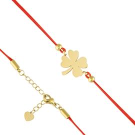 Bransoletka stal sznurek z koniczyną Aisadi BP7590