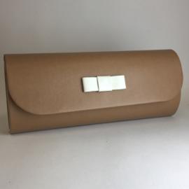 Torebka damska kopertówka wizytowa brąz TD536