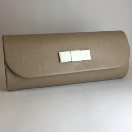 Torebka damska kopertówka wizytowa szarybrąz TD537