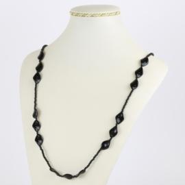 Naszyjnik perła czeska czarna szlifowana - PER492