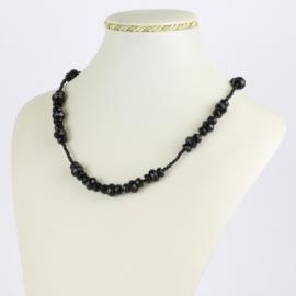 Naszyjnik perła czeska czarna szlifowana - PER493