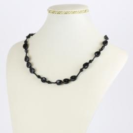 Naszyjnik perła czeska czarna szlifowana - PER495