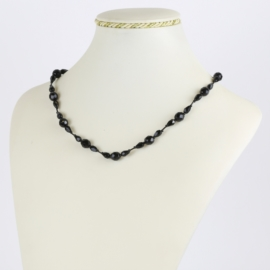 Naszyjnik perła czeska czarna szlifowana - PER497