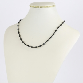 Naszyjnik perła czeska czarna szlifowana - PER498
