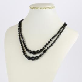 Naszyjnik perła czeska czarna szlifowana - PER499