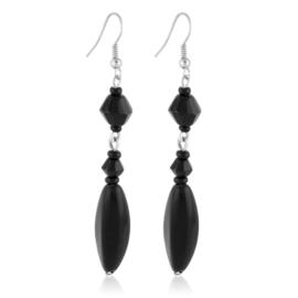 Kolczyki perła czarna szlifowana - PEK129