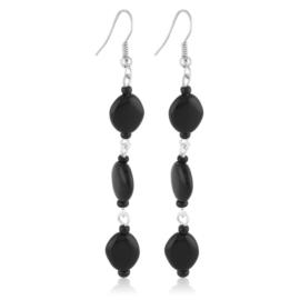 Kolczyki perła czarna szlifowana - PEK130