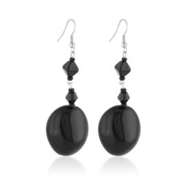 Kolczyki perła czarna szlifowana - PEK131