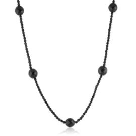 Naszyjnik czeski czarny szlifowany 100cm - PER501