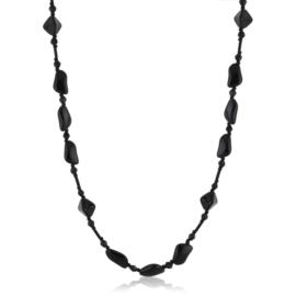 Naszyjnik czeski czarny szlifowany 120cm - PER503