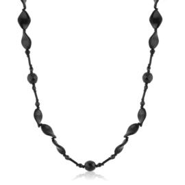 Naszyjnik czeski czarny szlifowany 120cm - PER504