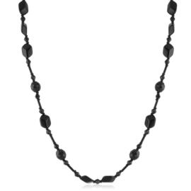 Naszyjnik czeski czarny szlifowany 80cm - PER506