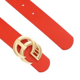 Pasek damski z klamrą na bolec - czerwony BL205