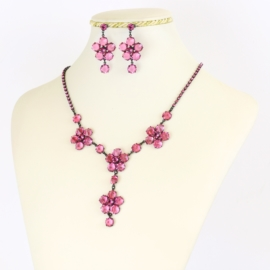 Komplet biżuterii czeskiej - różowy KOM344