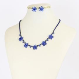 Komplet biżuterii czeskiej - niebieski KOM345