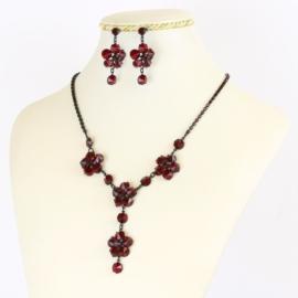 Komplet biżuterii czeskiej - bordo KOM346