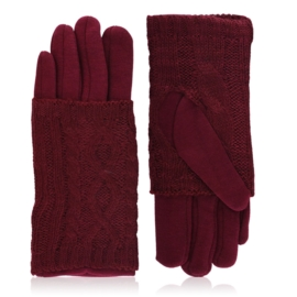 Rękawiczki zimowe podwójne - bordowe - RK572