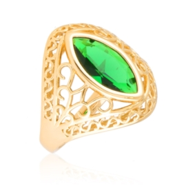 Pierścionek ażurowy zielony - Xuping PP3019