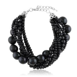 Bransoletka perełkowa - czarna BRA3300