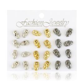Kolczyki sztyfty na paletce czaszki 12par EA3711