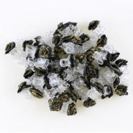 Żabki brokatowe różyczki czarne 60szt ZW72