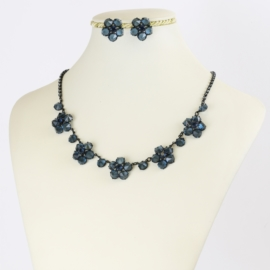 Komplet biżuterii czeskiej - niebieski KOM347