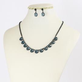 Komplet biżuterii czeskiej - niebieski KOM348