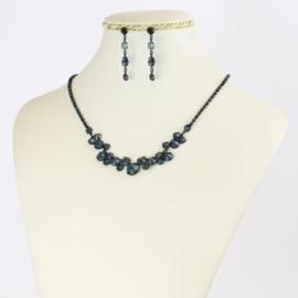 Komplet biżuterii czeskiej - niebieski KOM349