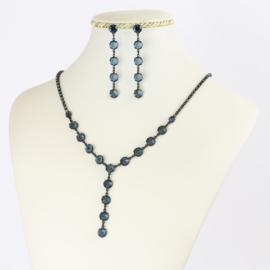 Komplet biżuterii czeskiej - niebieski KOM350
