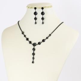 Komplet biżuterii czeskiej - czarny KOM351