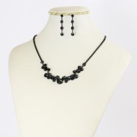 Komplet biżuterii czeskiej - czarny KOM352