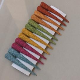 Klipsy brokatowe mix kolorów 7,5cm 12szt - OS886