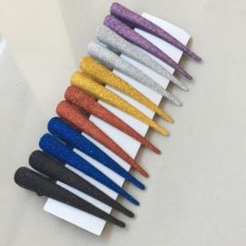 Klipsy brokatowe mix kolorów 7,5cm 12szt - OS887