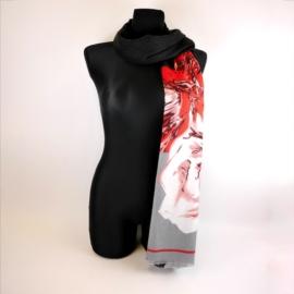 Szalik damski w kwiaty 180x70cm - WO1194
