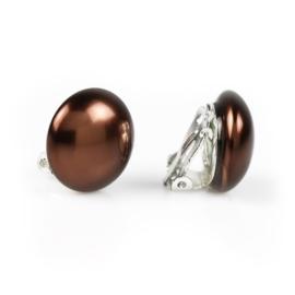 Klipsy perła czeska brązowa 1,8cm 43/105 PEK08