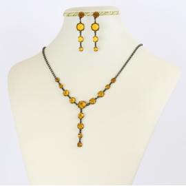 Komplet biżuterii czeskiej - pomarańczowy KOM353
