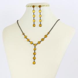 Komplet biżuterii czeskiej - pomarańczowy KOM354