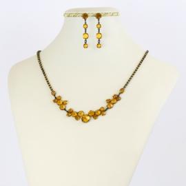 Komplet biżuterii czeskiej - pomarańczowy KOM355