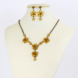 Komplet biżuterii czeskiej - pomarańczowy KOM356