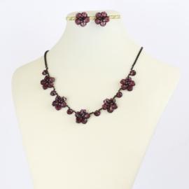 Komplet biżuterii czeskiej - fioletowy KOM357