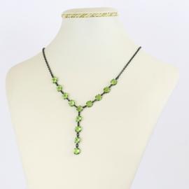 Naszyjnik czeskie kryształy - zielony - NA2073