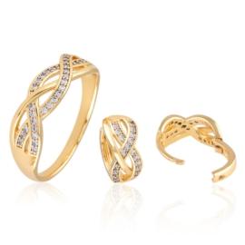 Komplet kolczyki pierścionek r.10 Xuping PK561