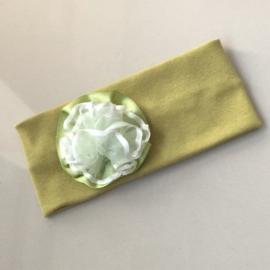 Opaska zielona z kwiatkiem - OPS798