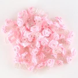 Żabki różyczki z dżetem jasny róż 100szt ZW82