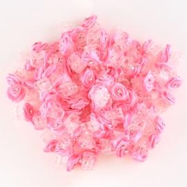 Żabki różyczki z dżetem cukierkowy róż 100szt ZW83