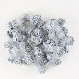 Żabki różyczki z dżetem szare 40szt ZW86