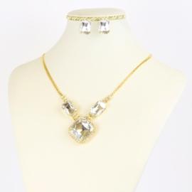 Komplet biżuterii z kryształami - KOM380